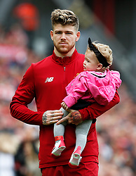 Alberto Moreno of Liverpool with daughter - Mandatory by-line: Matt McNulty/JMP - 21/05/2017 - FOOTBALL - Anfield - Liverpool, England - Liverpool v Middlesbrough - Premier League