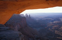 Canyonlands National Park, UT.Mesa Arch at sunrise.  Island in the Sky district.  Sandstone.