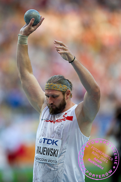 Tomasz Majewski from Poland competes in men's shot put final during the 14th IAAF World Athletics Championships at the Luzhniki stadium in Moscow on August 16, 2013.<br /> <br /> Russian Federation, Moscow, August 16, 2013<br /> <br /> Picture also available in RAW (NEF) or TIFF format on special request.<br /> <br /> For editorial use only. Any commercial or promotional use requires permission.<br /> <br /> Mandatory credit:<br /> Photo by &copy; Adam Nurkiewicz / Mediasport