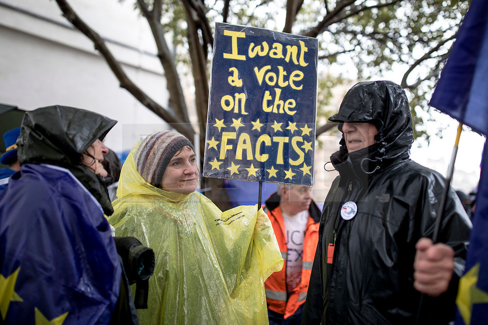 © Licensed to London News Pictures. 12/03/2019. London, UK. Anti-Brexit protesters brave heavy rain during a demonstration outside Parliament. MPs will get a second meaningful vote on Prime Minister Theresa May's Brexit deal this evening. Photo credit: Rob Pinney/LNP