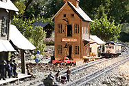 A view of The Maple Leaf & Fe-Line Railroad, at the home of Don & Sue Wright.  This is their second garden (g-scale) railroad on the property.  It was moved and expanded a few years ago, and is now approximately 40 feet by 60 feet.