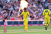 50 for Aaron Finch of Australia - Aaron Finch of Australia celebrates scoring a half century during the International T20 match between England and Australia at Edgbaston, Birmingham, United Kingdom on 27 June 2018. Picture by Graham Hunt.