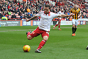 Sheffield United forward Billy Sharp crosses ball  during the Sky Bet League 1 match between Sheffield Utd and Port Vale at Bramall Lane, Sheffield, England on 20 February 2016. Photo by Ian Lyall..,