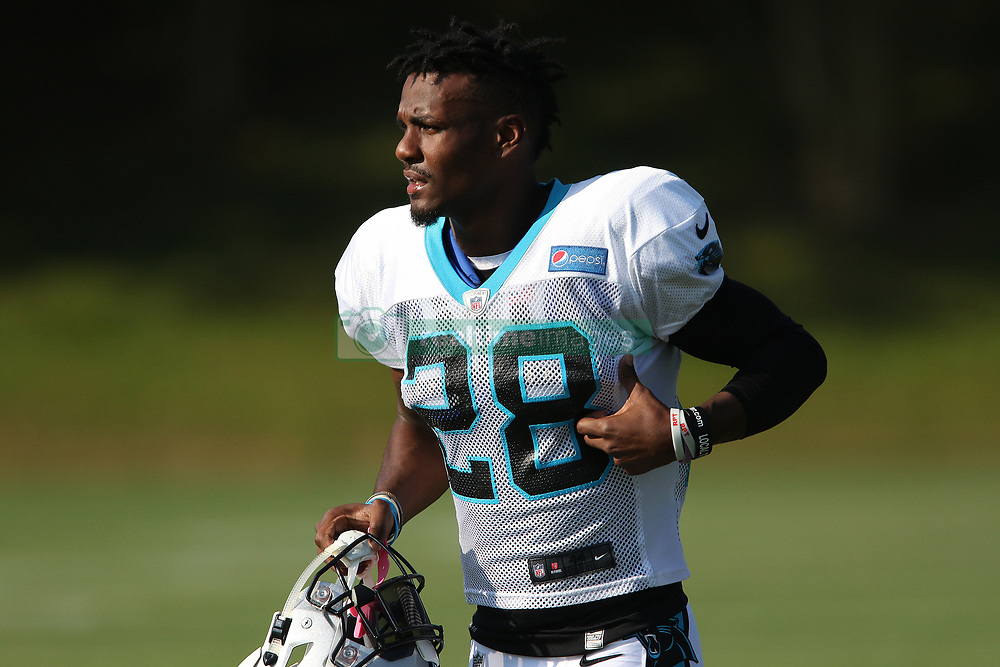 July 28, 2018 - Spartanburg, SC, U.S. - SPARTANBURG, SC - JULY 28: Rashaan Gaulden (28) safety Carolina Panthers jogs to the field for the third day of the Carolina Panthers training camp practice at Wofford College July 28, 2018 in Spartanburg, S.C.  (Photo by John Byrum/Icon Sportswire) (Credit Image: © John Byrum/Icon SMI via ZUMA Press)