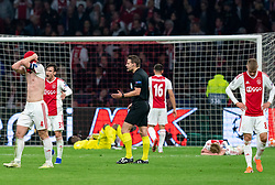 08-05-2019 NED: Semi Final Champions League AFC Ajax - Tottenham Hotspur, Amsterdam<br /> After a dramatic ending, Ajax has not been able to reach the final of the Champions League. In the final second Tottenham Hotspur scored 3-2 / Matthijs de Ligt #4 of Ajax, Daley Sinkgraven #8 of Ajax, Nicolas Tagliafico #31 of Ajax