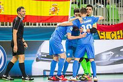 Kazakhstan players celebrate during futsal match between Kazakhstan and Spain in Semifinals of UEFA Futsal EURO 2018, on February 8, 2018 in Arena Stozice, Ljubljana, Slovenia. Photo by Ziga Zupan / Sportida