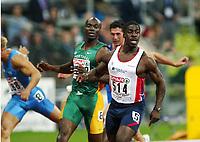Friidrett, 6.august 2002. Europamesterskapet 2002 München. Dwain Chambers (514) og Francis Obikwelu, Portugal., løp 100 meter.