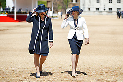 © Licensed to London News Pictures. 12/07/2017. London, UK. UK Prime Minister Theresa May and Home Secretary Amber Rudd talk after welcoming King Felipe VI and Queen Letizia of Spain on Horse Guards Parade in London on the first day of State visit of the King and Queen of Spain. Photo credit: Tolga Akmen/LNP