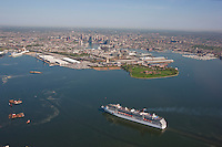 Aerial photo of Carnival Pride sailing toward Baltimore Harbor