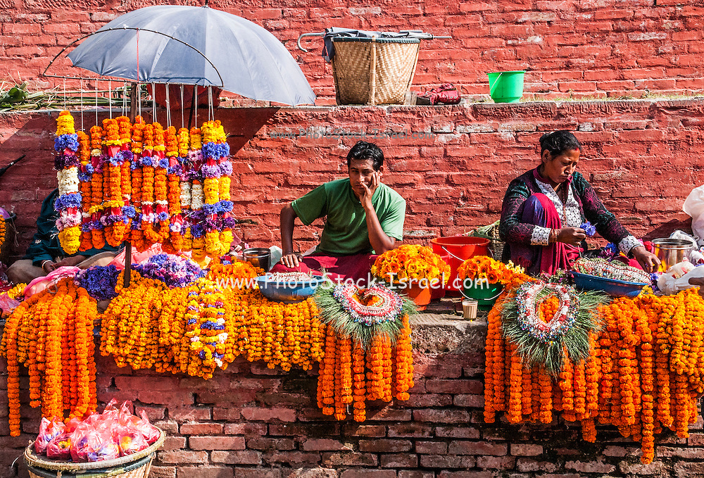 Prayer flowers Kathmandu Durbar Square in front of the old royal palace of the former Kathmandu Kingdom, Nepal