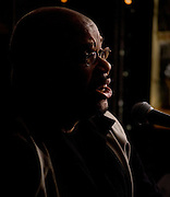 Portrait of Norman Taylor during a joint appearance with Patty Blee at the Bus Stop Music Cafe in Pitman, NJ.