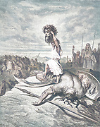 Machine colourized (AI) David Slays Goliath From the book 'Bible Gallery' Illustrated by Gustave Dore with Memoir of Dore and Descriptive Letter-press by Talbot W. Chambers D.D. Published by Cassell & Company Limited in London and simultaneously by Mame in Tours, France in 1866
