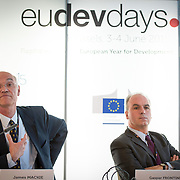 03 June 2015 - Belgium - Brussels - European Development Days - EDD - Growth - Ideas to impact-Innovation prizes for development - Gaspar Frontini , <br /> Head of unit at European Commission - James Mackie<br /> Senior Adviser EU Development Policy, European Centre for Development Policy Management© European Union
