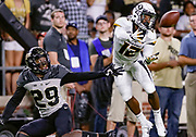 WEST LAFAYETTE, IN - SEPTEMBER 15: Johnathon Johnson #12 of the Missouri Tigers looks to catch the ball as Simeon Smiley #29 of the Purdue Boilermakers defends at Ross-Ade Stadium on September 15, 2018 in West Lafayette, Indiana. (Photo by Michael Hickey/Getty Images) *** Local Caption *** Johnathon Johnson; Simeon Smiley NCAA Football - Purdue Boilermakers vs Missouri Tigers at Ross-Ade Stadium in West Lafayette, Indiana. Sports photographer by Michael Hickey