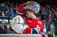 KELOWNA, CANADA - JANUARY 4: Jayden Sittler #33 of the Spokane Chiefs stands in net during a time out against the Kelowna Rockets on January 4, 2017 at Prospera Place in Kelowna, British Columbia, Canada.  (Photo by Marissa Baecker/Shoot the Breeze)  *** Local Caption ***