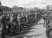 1983-04-12.12th April 1983.12-04-1983.04-12-83..Photographed at McKee Barracks, Cork..Marching Past..Battalion marching past Defence Minister Paddy Cooney on the review stand. .