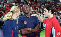 Emmanuel Petit (Barcelona) talks to Patrick Vieira and Robert Pires (Arsenal) before the game. Arsenal v FC Barcelona, The Amsterdam Tournament, Amsterdam Arena, Holland, 3/8/2000. Credit Colorsport / Stuart MacFarlane.