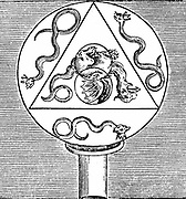 Symbols of the synthesis of the Great Work. 4 sides=4 elements. 3 serpents=tria prima (sulphur, salt, mercury). 2 circles=masculine and feminine properties. Large circle attached to tube=Hermetic Vase. From 'Tripus Aureus' Michael Maier (Frankfurt 1678).