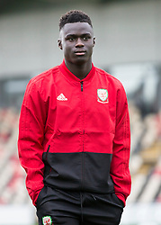 NEWPORT, WALES - Tuesday, October 16, 2018: Wales' Momodou Touray arrives ahead of the UEFA Under-21 Championship Italy 2019 Qualifying Group B match between Wales and Switzerland at Rodney Parade. (Pic by Laura Malkin/Propaganda)