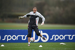 CARDIFF, WALES - Monday, March 21, 2011: Wales' goalkeeper Boaz Myhill during a training session at the Vale of Glamorgan ahead of the UEFA Euro 2012 qualifying Group G match against England. (Photo by David Rawcliffe/Propaganda)