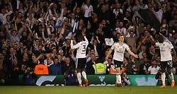 Ryan Sessegnon ( L ) of Fulham celebrates after scoring to make it 1-0 - Mandatory by-line: Paul Terry/JMP - 14/05/2018 - FOOTBALL - Craven Cottage - Fulham, England - Fulham v Derby County - Sky Bet Championship Play-off Semi-Final