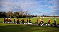 CARDIFF, WALES - Monday, October 9, 2017: Wales players during a pre-match walk at the Vale Resort ahead of the 2018 FIFA World Cup Qualifying Group D match between Wales and Republic of Ireland. (Pic by David Rawcliffe/Propaganda)