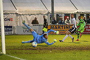 Forest Green Rovers Keanu Marsh-Brown(7) shoots at goal scores a goal 1-3 during the Vanarama National League match between Bromley FC and Forest Green Rovers at Hayes Lane, Bromley, United Kingdom on 7 January 2017. Photo by Shane Healey.