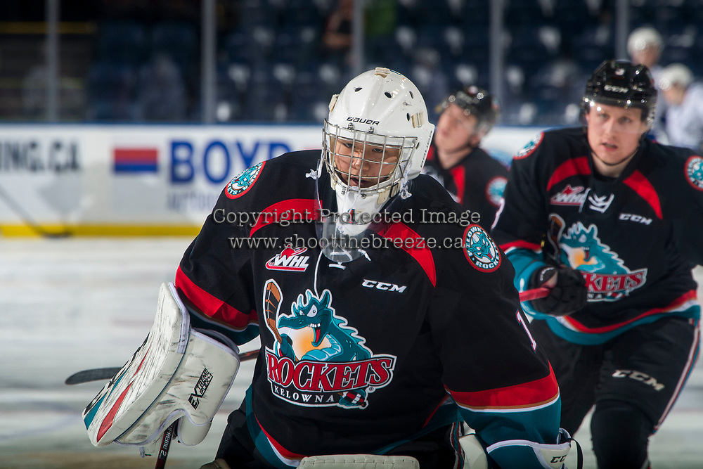 KELOWNA, CANADA - NOVEMBER 23:  James Porter #1 of the Kelowna Rockets warms up against the Victoria Royals on November 23, 2018 at Prospera Place in Kelowna, British Columbia, Canada.  (Photo by Marissa Baecker/Shoot the Breeze)