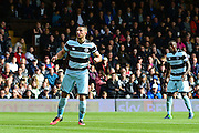 Queens Park Rangers forward Conor Washington (9) watches his goal go in for 1-0 during the EFL Sky Bet Championship match between Fulham and Queens Park Rangers at Craven Cottage, London, England on 1 October 2016. Photo by Jon Bromley.