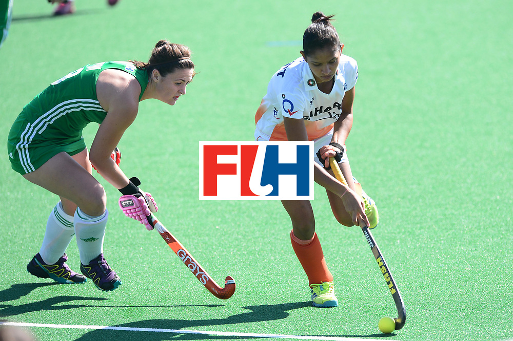 JOHANNESBURG, SOUTH AFRICA - JULY 22: Roisin Upton of Ireland and Navjot Kaur of Inda during day 8 of the FIH Hockey World League Women's Semi Finals 7th-8th place match between India and Ireland at Wits University on July 22, 2017 in Johannesburg, South Africa. (Photo by Getty Images/Getty Images)