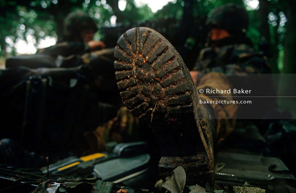 Detail of a British Army infantry soldier's boot during a lull in an infantry exercise on Salisbury Plain, on 5th August 1996, in Warminster, UK. (Photo by Richard Baker / In Pictures via Getty Images)