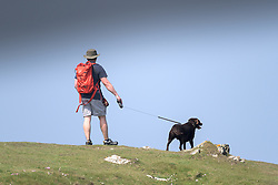 A man and his dog walk on East Pentire Headland in newquay, Cornwall.