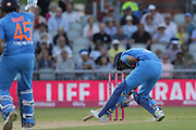 KL Rahul hurt during the International T20 match between England and India at Old Trafford, Manchester, England on 3 July 2018. Picture by George Franks.