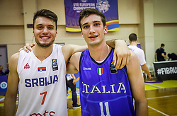 Pazin  Djordje of Serbia and Donadio  Lorenzo of Italy after the basketball match between National teams of Serbia and Italy in the 9th place Classifications of FIBA U18 European Championship 2019, on August 4, 2019 in Portaria Hall, Volos, Greece. Photo by Vid Ponikvar / Sportida