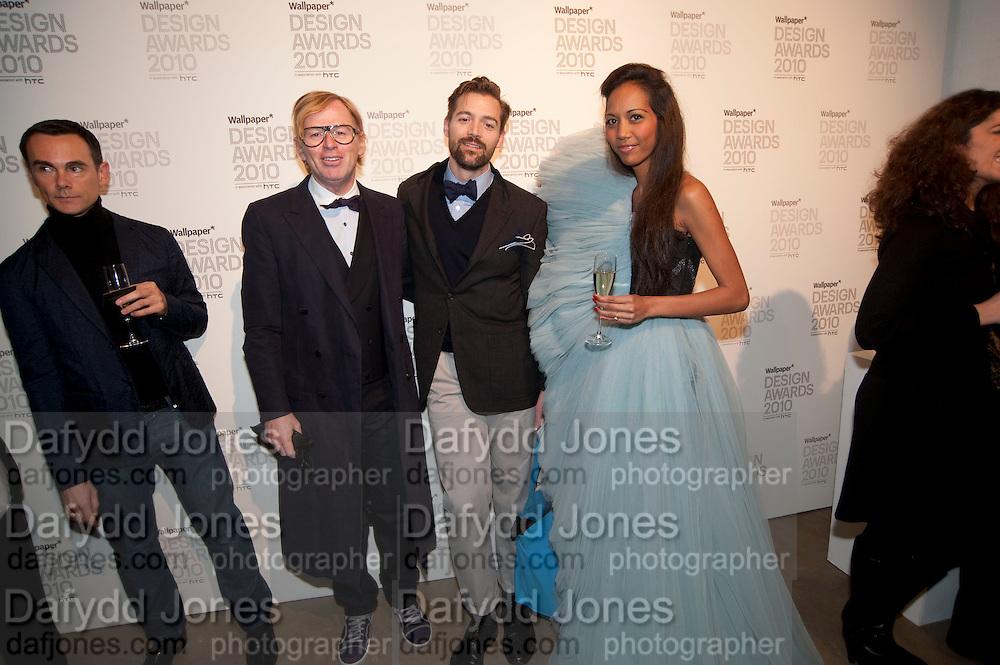 DAVID COLLINS; PATRICK GRANT; APPHIA MICHAEL, Wallpaper* Design Awards. Wilkinson Gallery, 50-58 Vyner Street, London E2, 14 January 2010 *** Local Caption *** -DO NOT ARCHIVE-© Copyright Photograph by Dafydd Jones. 248 Clapham Rd. London SW9 0PZ. Tel 0207 820 0771. www.dafjones.com.<br /> DAVID COLLINS; PATRICK GRANT; APPHIA MICHAEL, Wallpaper* Design Awards. Wilkinson Gallery, 50-58 Vyner Street, London E2, 14 January 2010