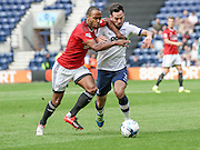 Preston North End Defender Greg Cunningham battles with Fulham defender, Denis Odoi (4) during the EFL Sky Bet Championship match between Preston North End and Fulham at Deepdale, Preston, England on 13 August 2016. Photo by Pete Burns.