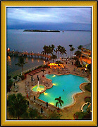 high above pool with bay in background at dusk,Sanibel,Florida cellphone photography,Iphone pictures,smartphone pictures