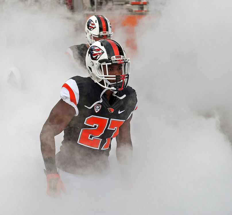 Oregon State's Naji Patrick comes onto the field before the start of the Beavers' 26-7 victory over Weber State in the 2015 season opener in Reser Stadium, in Corvallis, on Friday, Sept. 4, 2015.