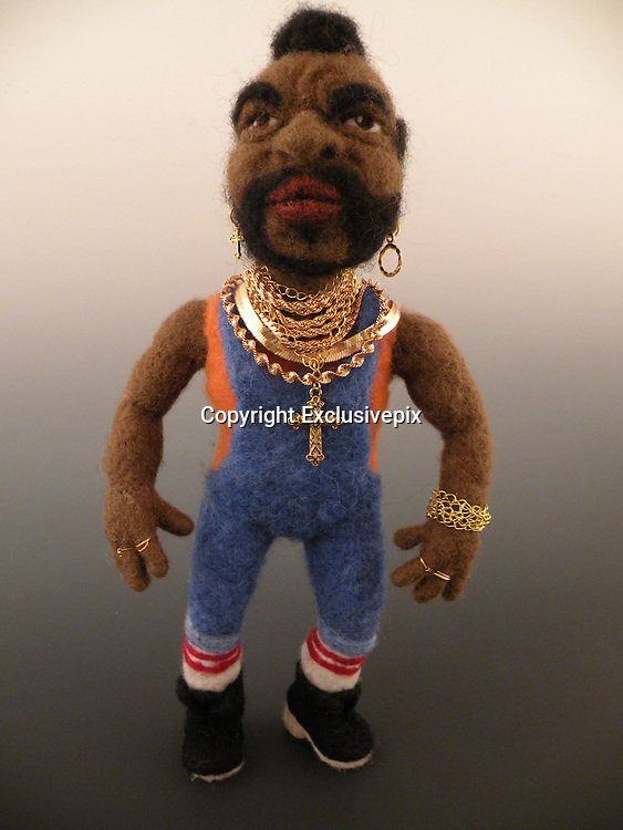 USA - 17/-8/2010 - Celebrity Sculptural needle felting by Kay Petal from Alaska has been creating amazing creations since 2007.all these creations are made by a single needle and wool.<br /> Photo Shows: Mr T<br /> (&copy;Kay Petal/Exclusivepix)