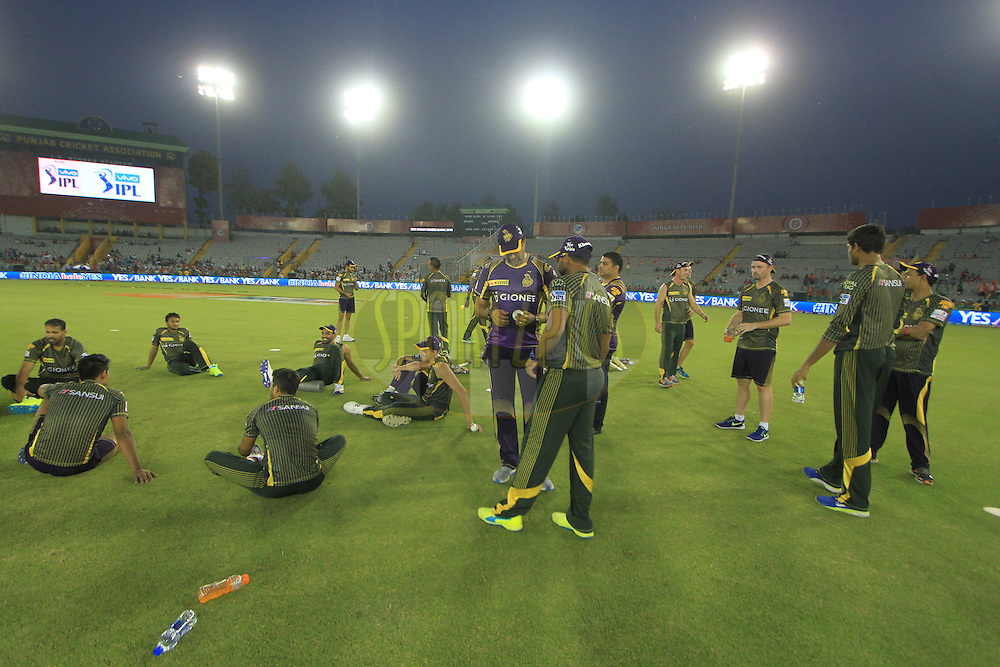 Kolkata Knight Riders players during warmup before match 13 of the Vivo Indian Premier League ( IPL ) 2016 between the Kings XI Punjab and the Kolkata Knight Riders held at the IS Bindra Stadium, Mohali, India on the 19th April 2016<br /> <br /> Photo by Arjun Singh / IPL/ SPORTZPICS