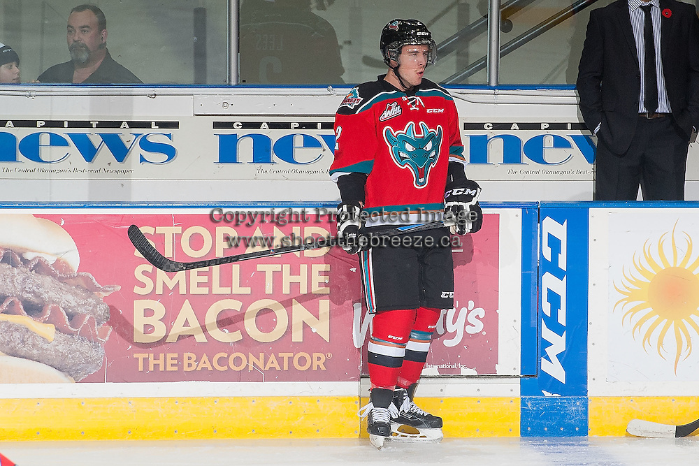 KELOWNA, CANADA - NOVEMBER 7:  Jesse Lees #2 of Kelowna Rockets stands on the ice during warm up against the Spokane Chiefs on November 7, 2014 at Prospera Place in Kelowna, British Columbia, Canada.  (Photo by Marissa Baecker/Shoot the Breeze)  *** Local Caption *** Jesse Lees;