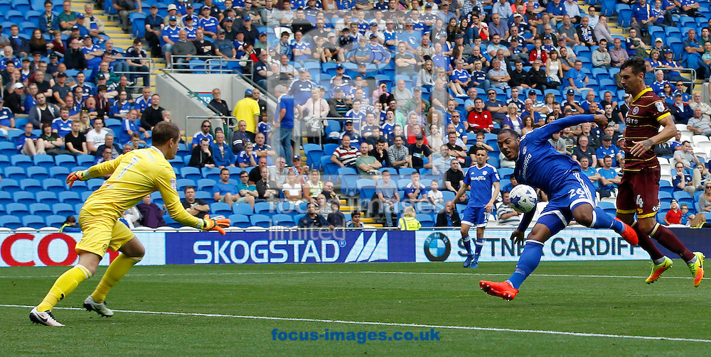 Kadeem Harris of Cardiff City and Grant Hall of Queens Park Rangers during the Sky Bet Championship match at the Cardiff City Stadium, Cardiff<br /> Picture by Mike Griffiths/Focus Images Ltd +44 7766 223933<br /> 14/08/2016