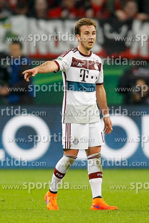 08.04.2015, BayArena, Leverkusen, GER, DFB Pokal, Bayer 04 Leverkusen vs FC Bayern Muenchen, Viertelfinale, im Bild Mario Goetze (FC Bayern Muenchen #19) // during the German DFB Pokal quarter final match between Bayer 04 Leverkusen and FC Bayern Munich at the BayArena in Leverkusen, Germany on 2015/04/08. EXPA Pictures &copy; 2015, PhotoCredit: EXPA/ Eibner-Pressefoto/ Sch&uuml;ler<br /> <br /> *****ATTENTION - OUT of GER*****