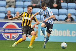 Shrewsburys Matt Sadler holds of Coventrys Ryan Kent, Coventry City v Shreswsbury Town FC  Ricoh Arena, Football Sky Bet League One, Saturday 3rd October 2015