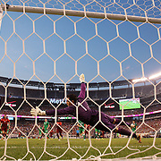 Cristiano Ronaldo, Portugal, beats Ireland goalkeeper David Forde from a free kick but his shot hits the post  during the Portugal V Ireland International Friendly match in preparation for the 2014 FIFA World Cup in Brazil. MetLife Stadium, Rutherford, New Jersey, USA. 10th June 2014. Photo Tim Clayton