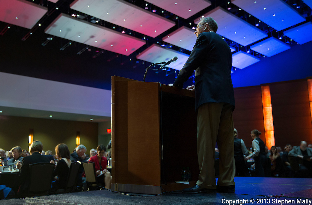 DES MOINES, IA - OCTOBER 25, 2013: Senator Chuck Grassley, Republican of Iowa, speaks at the Iowa GOP Ronald Reagan Dinner at the Iowa Events Center - Community Choice Credit Union Convention Center in Des Moines, Iowa.