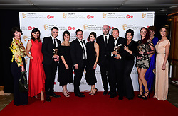The cast of Emmerdale with the awards for Best Soap in the press room at the Virgin TV British Academy Television Awards 2017 held at Festival Hall at Southbank Centre, London. PRESS ASSOCIATION Photo. Picture date: Sunday May 14, 2017. See PA story SHOWBIZ Bafta. Photo credit should read: Ian West/PA Wire