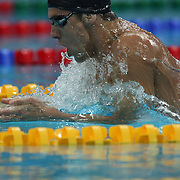 USA Michael Phelps in action during the breaststroke leg of the Men's 200M Individual Medley at the Beijing 2008 Olympic Games on August 17, 2008 in Beijing, China. Photo Tim Clayton