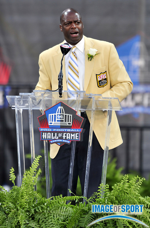 Aug 2, 2008; Canton, OH, USA; Darrell Green gives his induction speech at the Pro Football Hall of Fame enshrinement at Fawcett Stadium. Mandatory Credit: Kirby Lee/Image of Sport-US PRESSWIRE