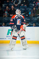 KELOWNA, CANADA - FEBRUARY 6: Cole Kehler #35 of Kamloops Blazers skates to the net during warm up against the Kelowna Rockets on February 6, 2015 at Prospera Place in Kelowna, British Columbia, Canada.  (Photo by Marissa Baecker/Shoot the Breeze)  *** Local Caption *** Cole Kehler;